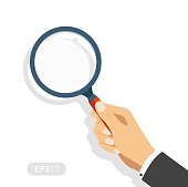 Hand holding a magnifying glass. Concept of searching, detecting and analyzing. New vector illustration in flat design on white background. Detailed flat style