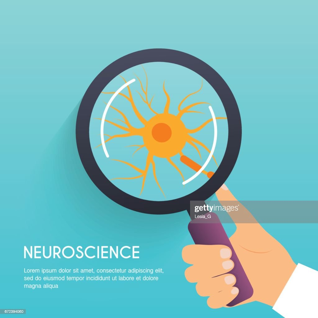 Hand holding a magnifying glass with illustration of nerve cell. Flat design modern vector illustration concept.