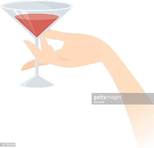 bildbanksillustrationer, clip art samt tecknat material och ikoner med hand holding a martini - cocktail