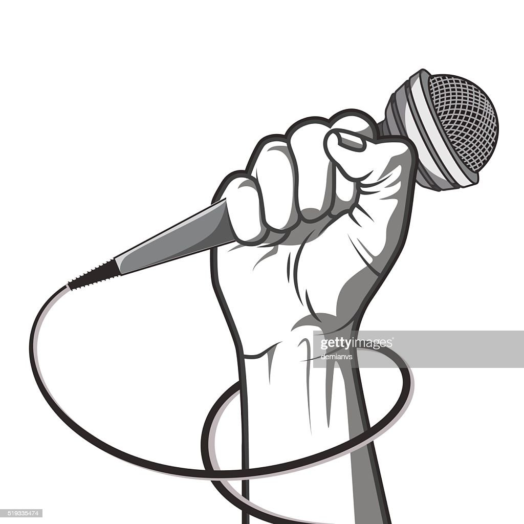 hand holding a microphone in a fist.