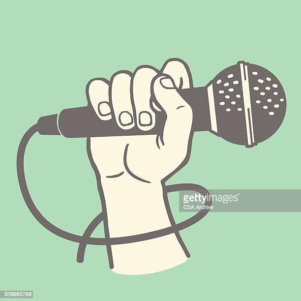 ilustrações, clipart, desenhos animados e ícones de mão segurando um microfone - cantora