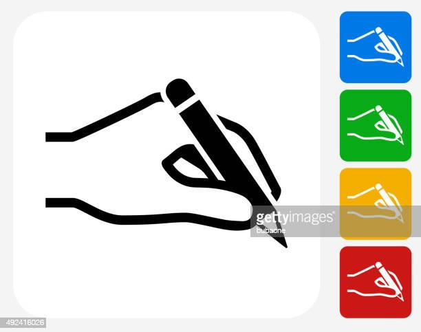 Hand Holding a Pencil Icon Flat Graphic Design