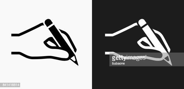 黒と白のベクトルの背景の鉛筆のアイコンを持っている手