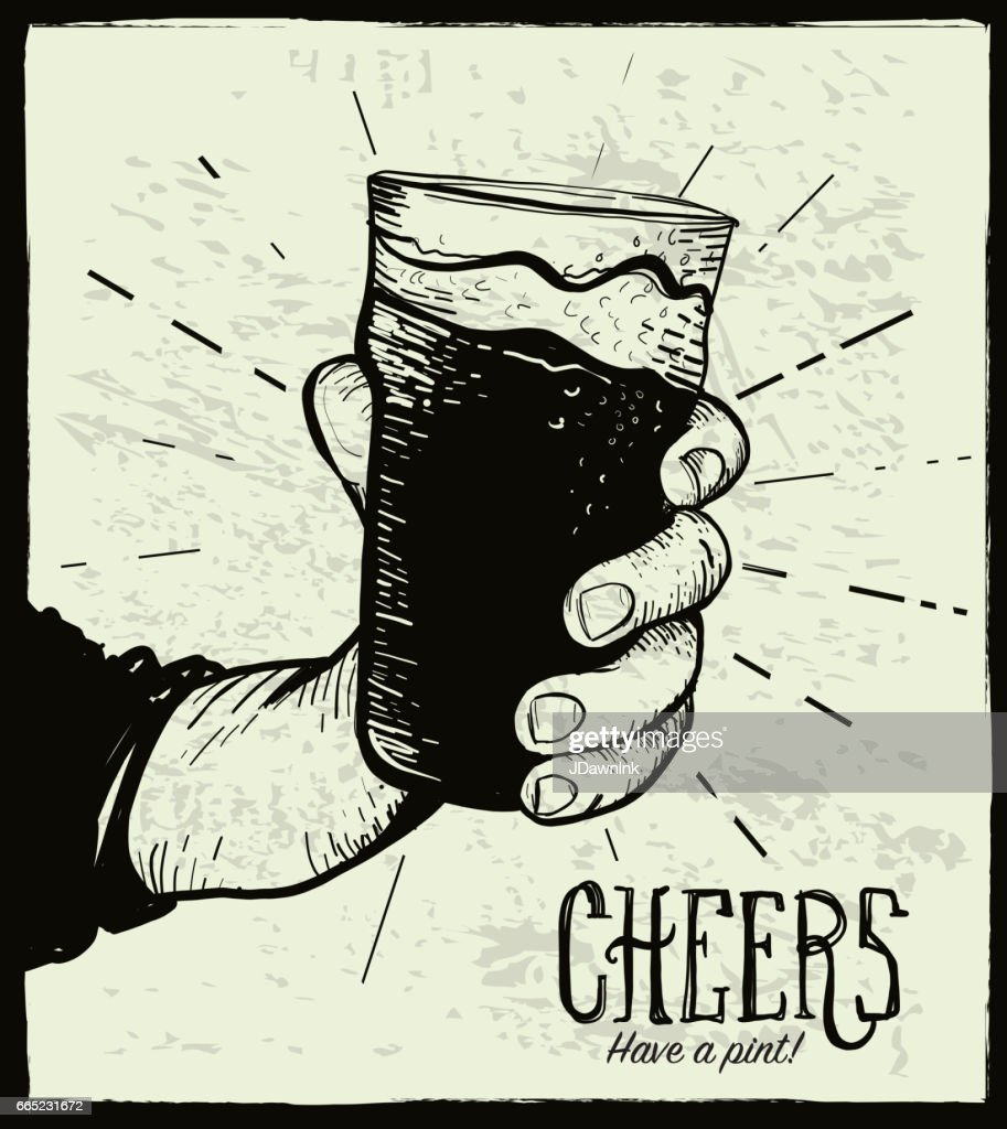 Hand holding a pint glass : stock illustration