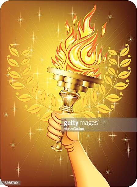 hand holding a torch - sport torch stock illustrations, clip art, cartoons, & icons