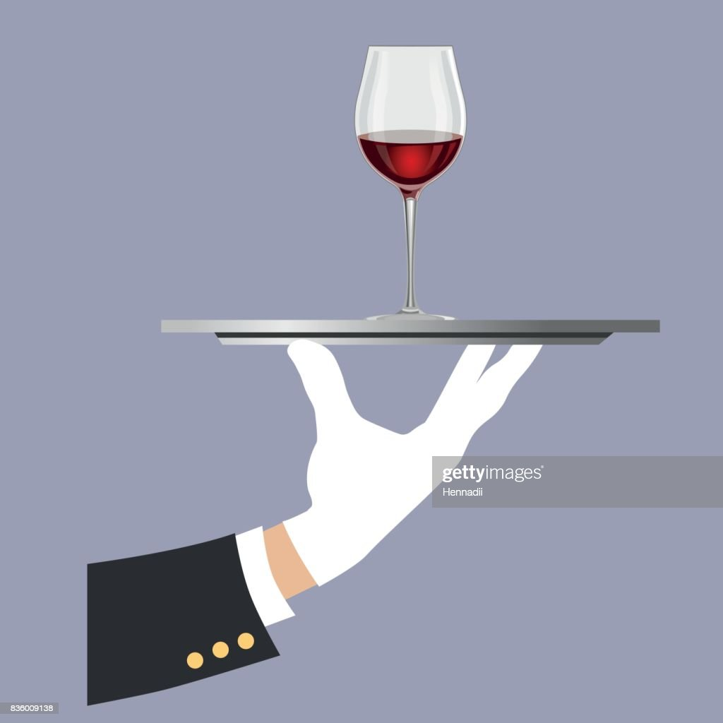 Hand holding a tray with a glass of wine