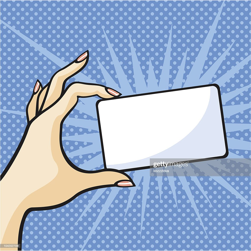 A hand holding a white card on a pop-art background