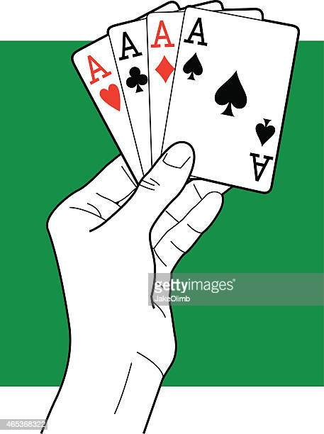 hand holding aces line art - ace stock illustrations, clip art, cartoons, & icons