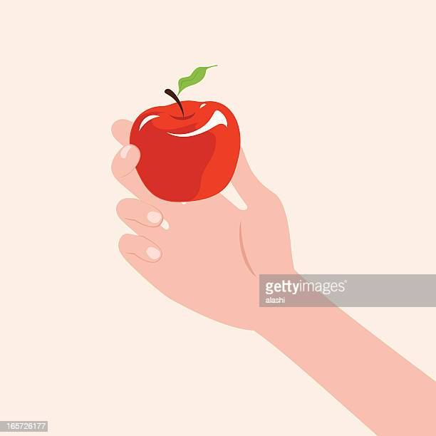 hand holding an apple - genetic modification stock illustrations, clip art, cartoons, & icons