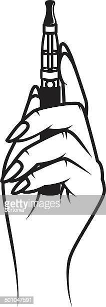 hand holding an e-cigarette - electronic cigarette stock illustrations, clip art, cartoons, & icons