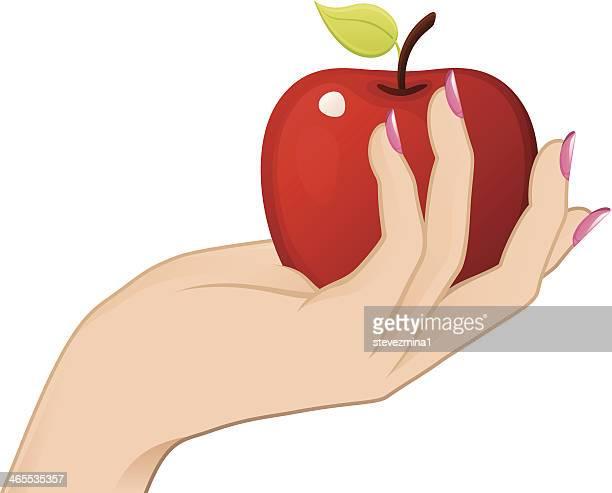 ilustraciones, imágenes clip art, dibujos animados e iconos de stock de mano agarrando apple - los siete pecados capitales