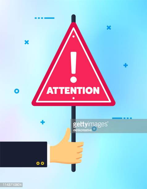 hand holding attention please banner sign - wrong way stock illustrations, clip art, cartoons, & icons
