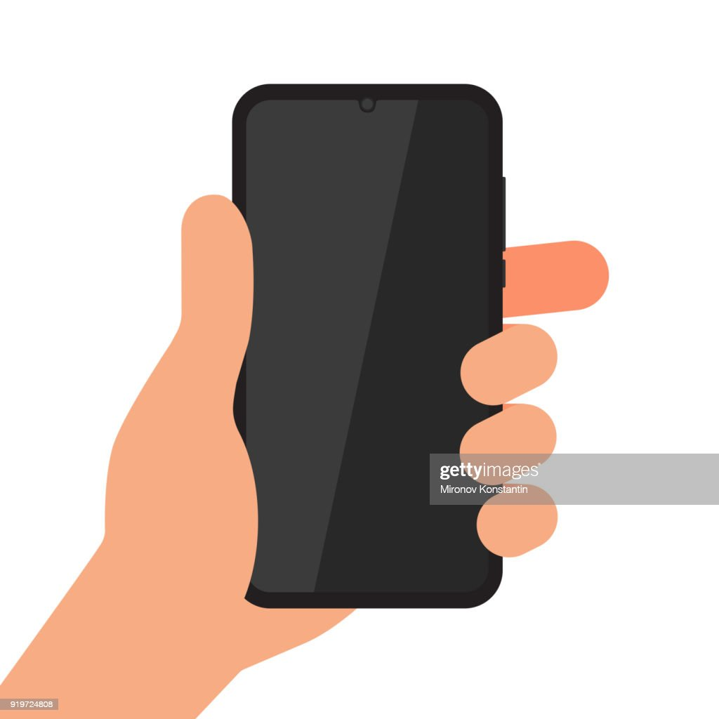 Hand holding black mobile phone isolated on white background. Smartphone on human's hand vector illustration