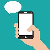 Hand holding black smartphone, touching blank screen