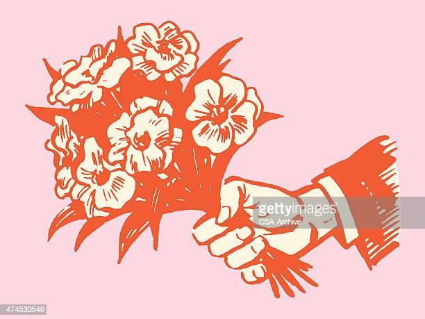 illustrations, cliparts, dessins animés et icônes de main tenant un bouquet de fleurs - bouquet de fleurs