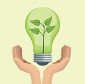 hand holding bulb green energy