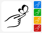 Hand Holding Butterfly Icon Flat Graphic Design