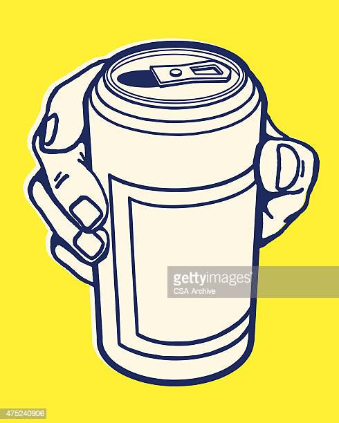 hand holding can - drink can stock illustrations, clip art, cartoons, & icons
