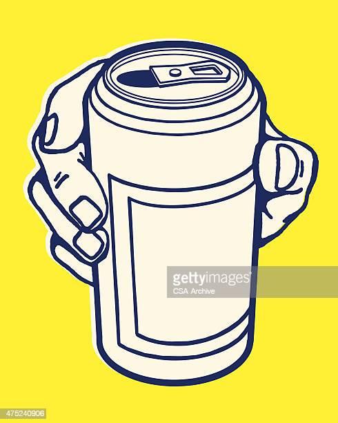 ilustrações, clipart, desenhos animados e ícones de mão segurando pode - drink can