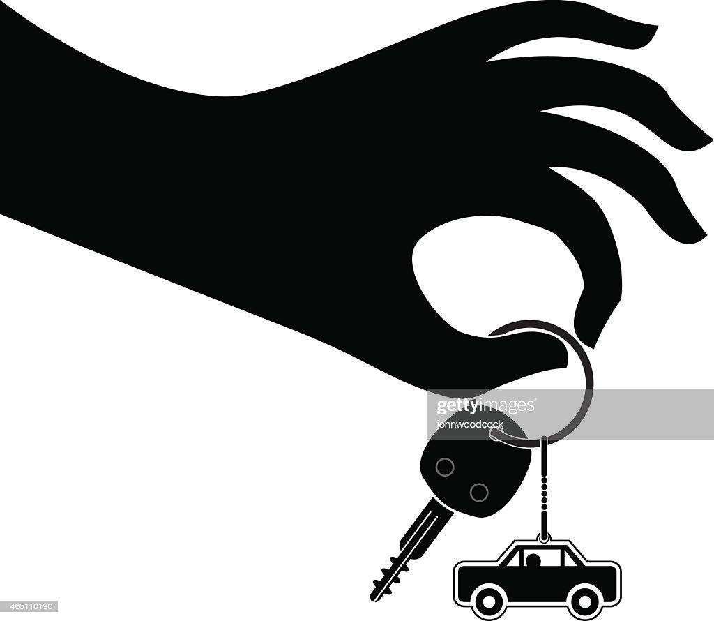 Vector Key Illustration: Hand Holding Car Keys Illustration Vector Art