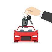 Hand holding car keys near auto vector isolated, gift concept