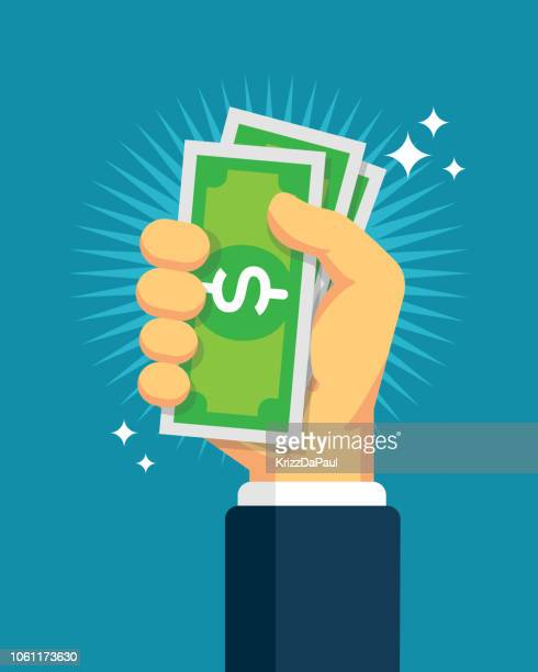 hand holding cash - receiving stock illustrations