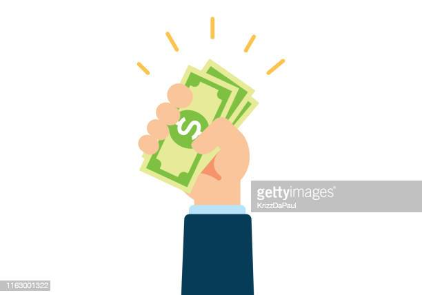 hand holding cash - loan stock illustrations