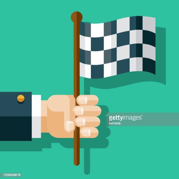 hand holding checkered flag - finishing stock illustrations