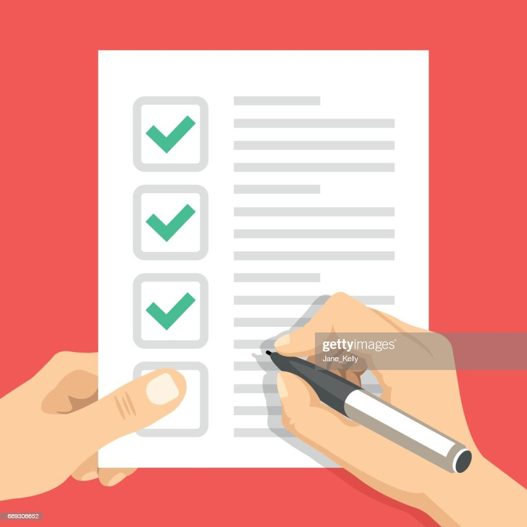 Hand holding checklist and hand holding pen. Sheet of paper with check marks, tick icons. Filling form, to-do list, exam, claim, survey, application, task list concepts. Flat design vector illustration