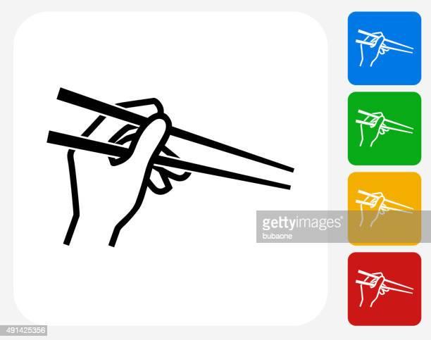 hand holding chopsticks icon flat graphic design - chopsticks stock illustrations, clip art, cartoons, & icons