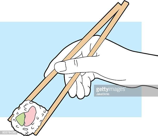 hand holding chopsticks with sushi line art - chopsticks stock illustrations, clip art, cartoons, & icons