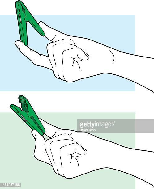 Hand Holding Clip Line Art