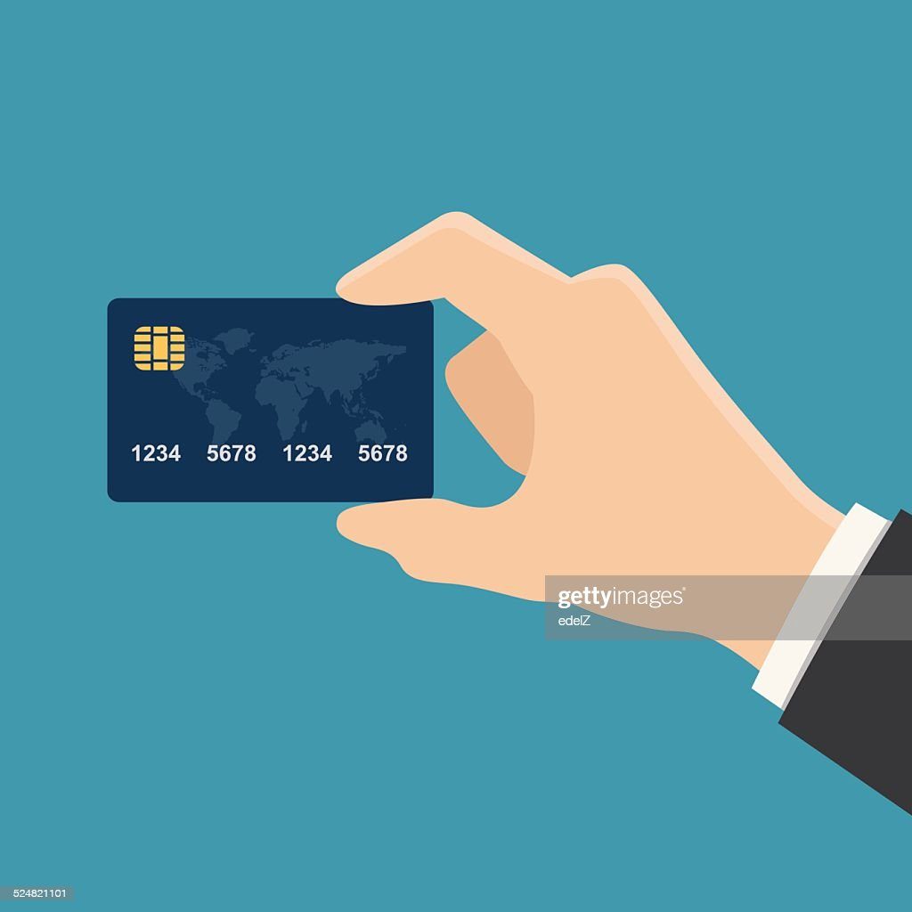 Hand holding credit card colorful flat style vector illustration