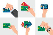 Hand holding credit card, isolated vector