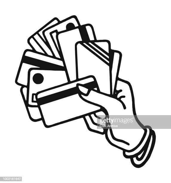 ilustrações, clipart, desenhos animados e ícones de mão segurando cartão de crédito - cartão de crédito