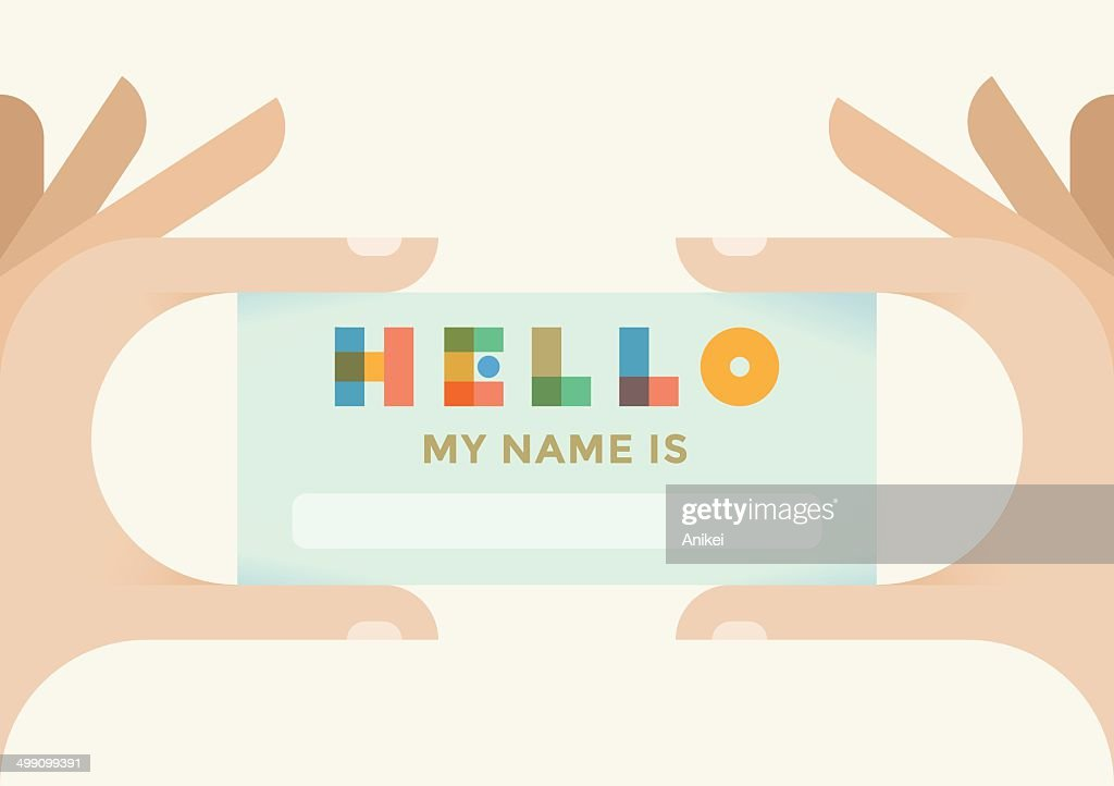 Hand holding designed card Hello, my name is