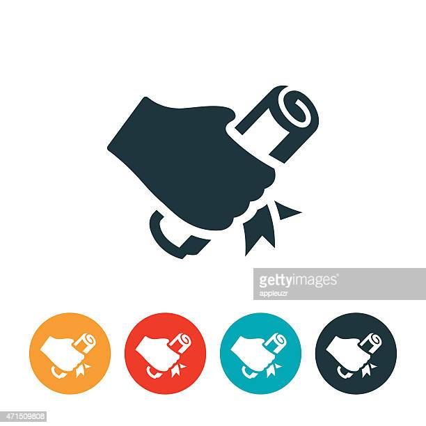 hand holding diploma icon - receiving stock illustrations