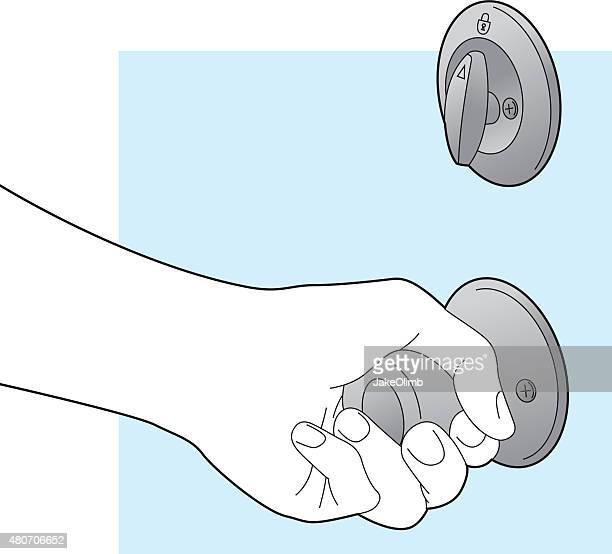 Mão a segurar a porta para trás arte de linha