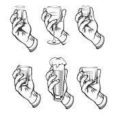 Hand holding drink vintage sketch icons