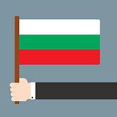 Hand holding flag Bulgaria