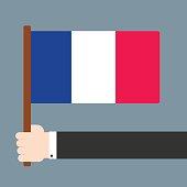 Hand holding flag France