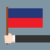 Hand holding flag Lichtenstein