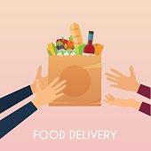 Hand holding food in package. Food delivery.  Ecommerce concept: order food online website. Flat design style modern vector illustration.