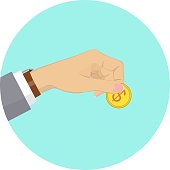 Hand holding gold coin with dollar sign. Vector illustration.