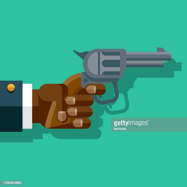 hand holding gun - shooting crime stock illustrations