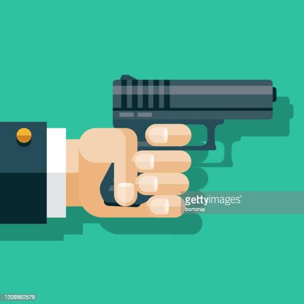hand holding gun - trigger stock illustrations