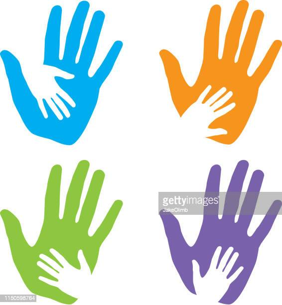 hand holding hand icons - child care stock illustrations