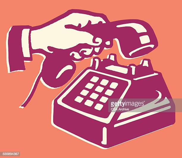 hand holding handset of telephone with buttons - telephone receiver stock illustrations