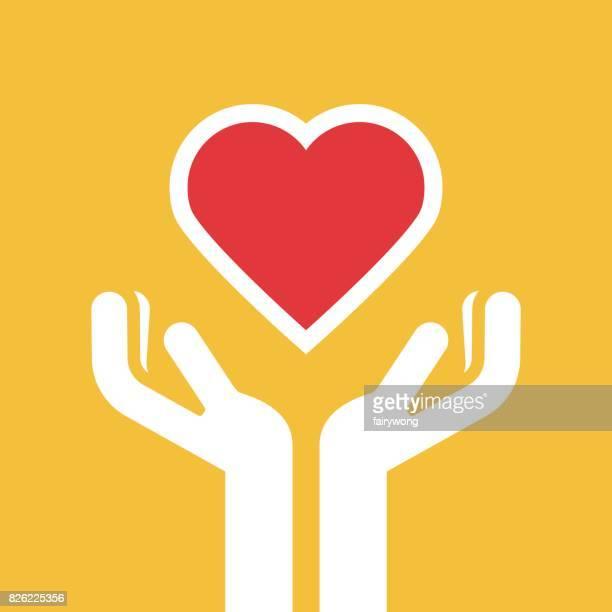ilustraciones, imágenes clip art, dibujos animados e iconos de stock de mano que sostiene la salud del corazón - pintura rupestre