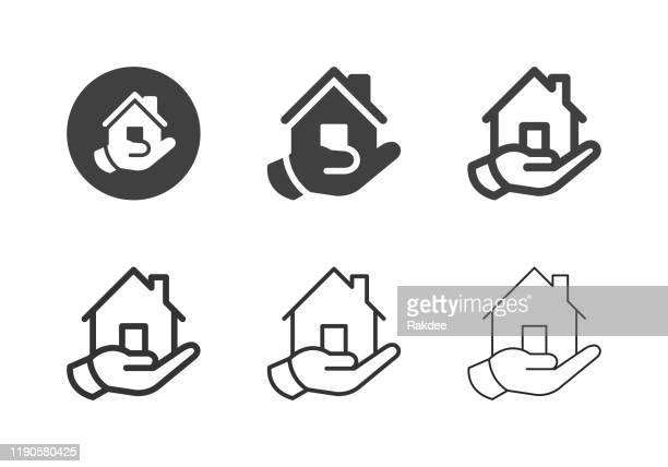 illustrations, cliparts, dessins animés et icônes de hand holding home icônes - série multi - questions sociales